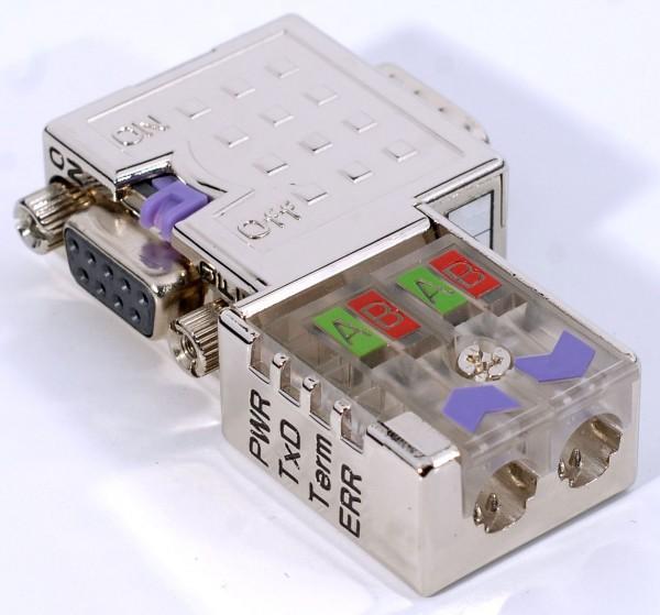 Metall-Profibus-Stecker EasyConn mit Diagnose-LEDs, 90 Grad