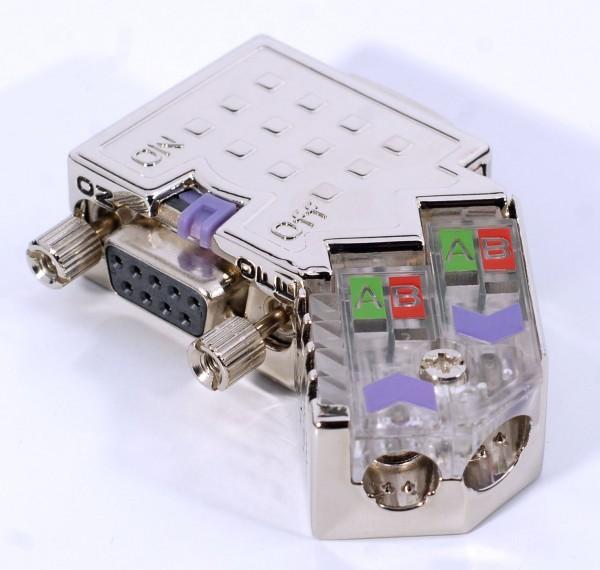 Metall-Profibus-Stecker EasyConn mit Diagnose-LEDs, 45 Grad